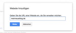 Google Webmaster Tools URL eingeben