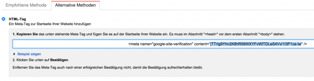 Google Webmaster Verifizierung HTML-Tag