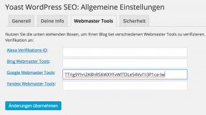 Webmaster Tools mit SEO by Yoast verifizieren