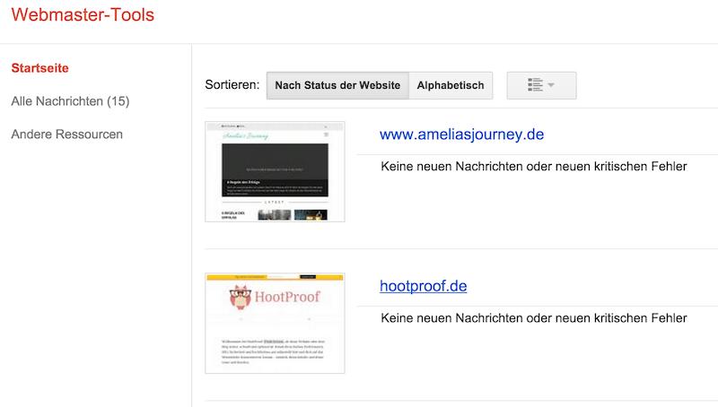 Domain der Seite, zu der die Sitemap gehört, auswählen