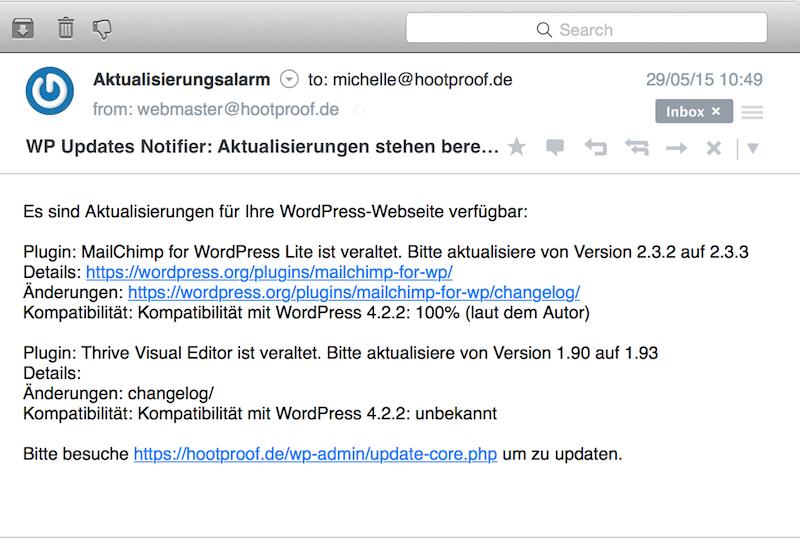 WordPress Aktualisierungsmerkmal Beispielmail