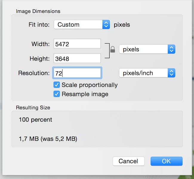 Bildauflösung anpassen Mac 2