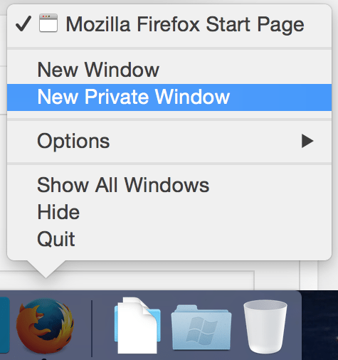 Neues privates Fenster in Firefox 2