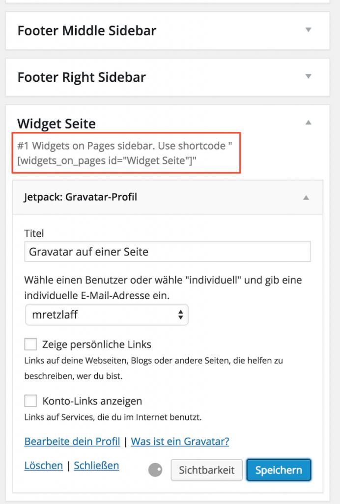 Widgets hinzufügen Shortcode