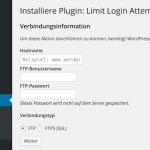 FTP-Zugangsdaten in WordPress speichern