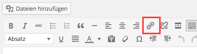 Link hinzufügen im WordPress-Editor