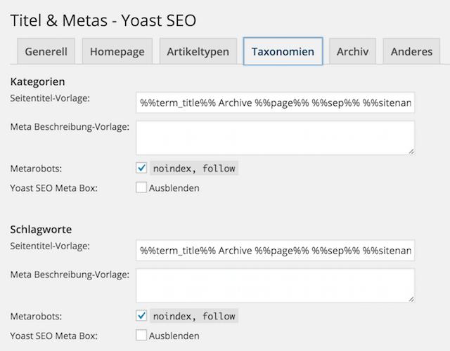 Yoast SEO Tags und Kategorien auf noindex setzen