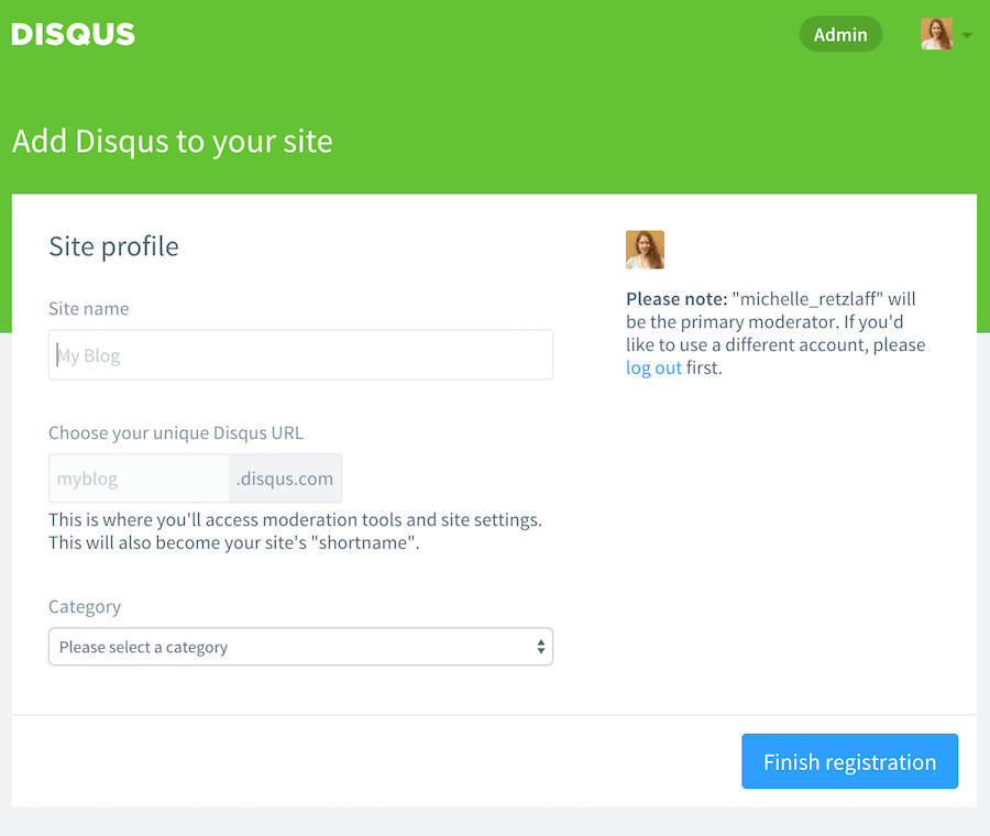 Disqus Website registrieren