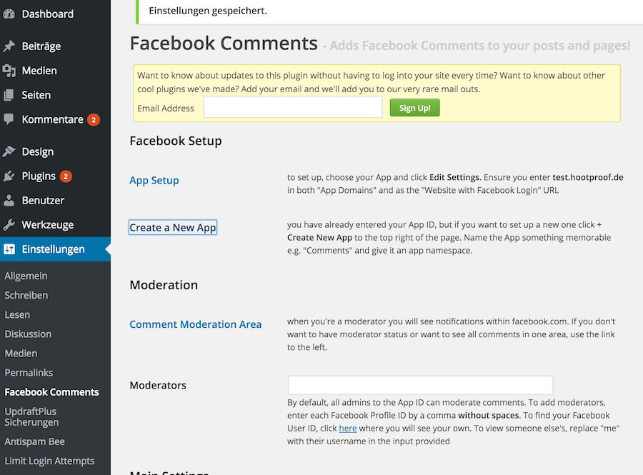 Facebook Comments WordPress Plugin Einstellungen
