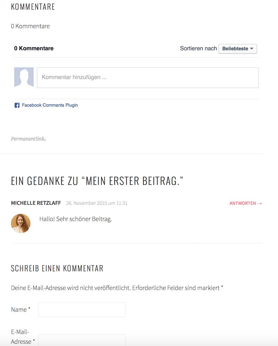 Gleichzeitige Verwendung WordPress und Facebook Kommentare