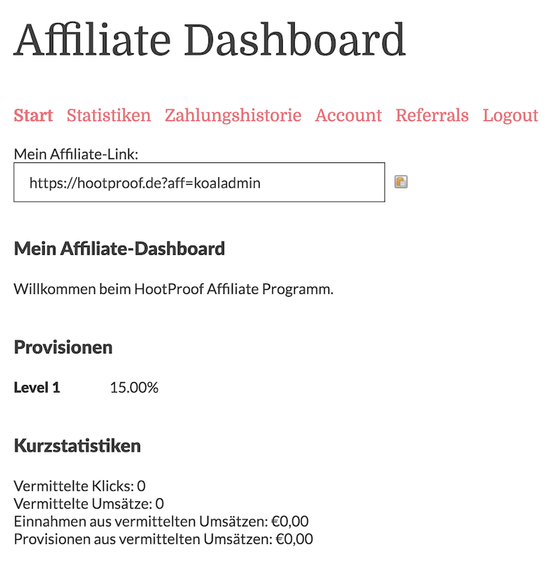 Affiliate Royale Dashboard