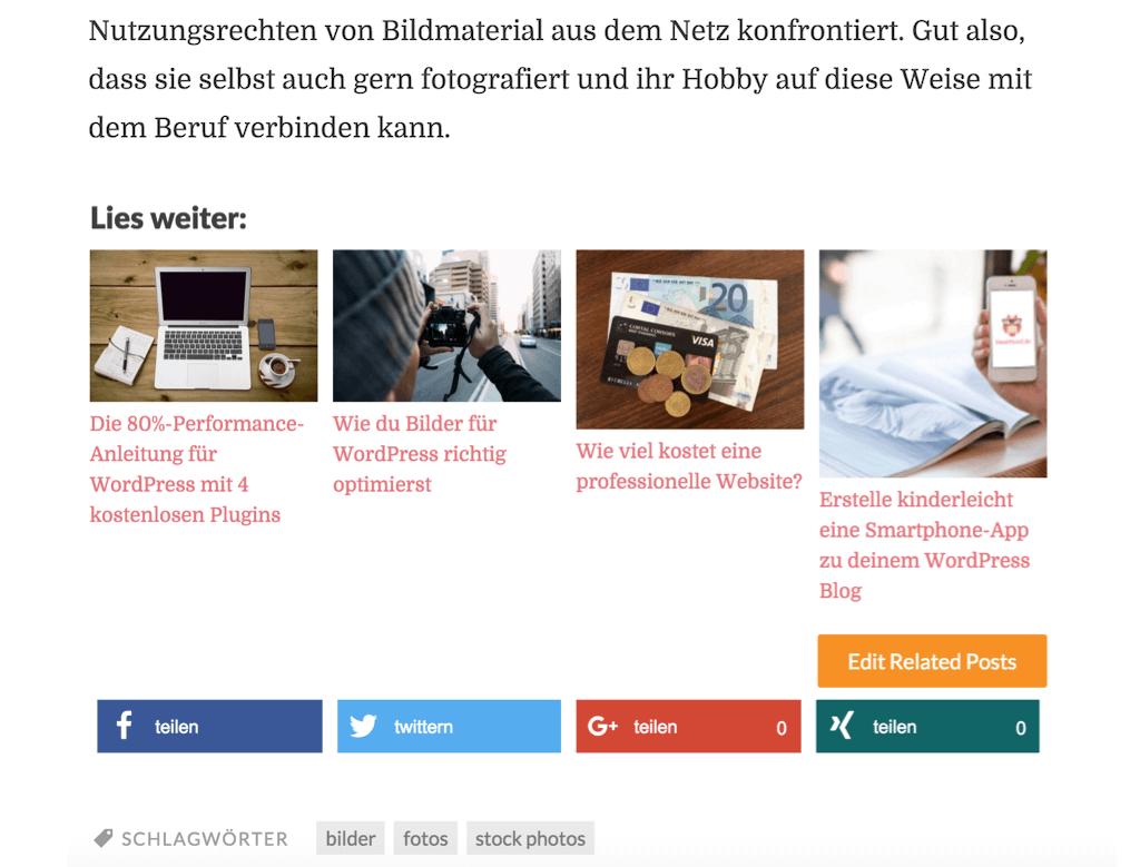 Zemanta Related Posts hier auf hootproof.de (Screenshot)