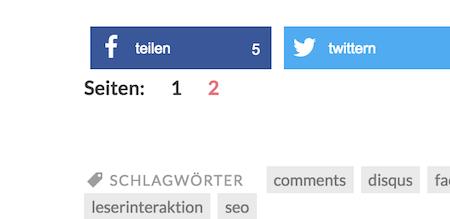 Artikel Seitennavigation WordPress