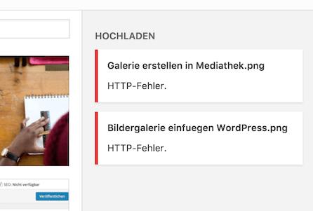 Screenshot HTTP Fehler beim Hochladen von Bildern in der Mediathek
