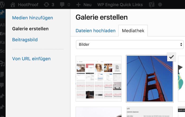 Screenshot Galerie erstellen über WordPress Mediathek