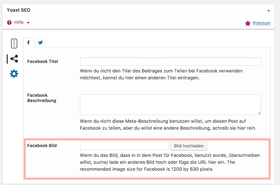 Screenshot Yoast SEO Box Facebook-Einstellugen