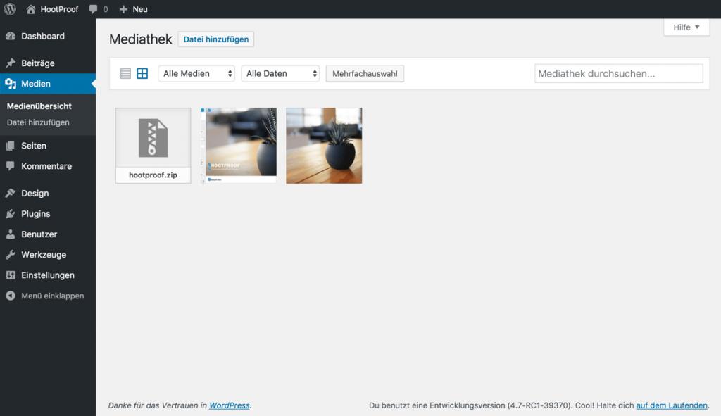 Screenshot der Mediathek mit verschiedenen Bildern und Dateien