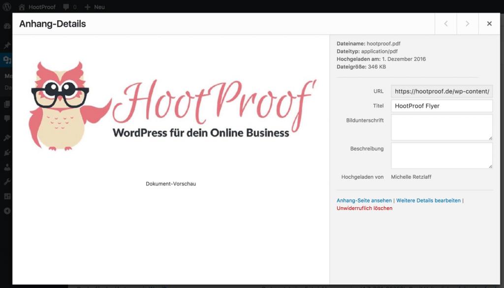PDF-Vorschau in der Medienverwaltung von WordPress 4.7