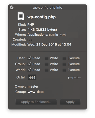 Berechtigungen der Datei wp-config.php