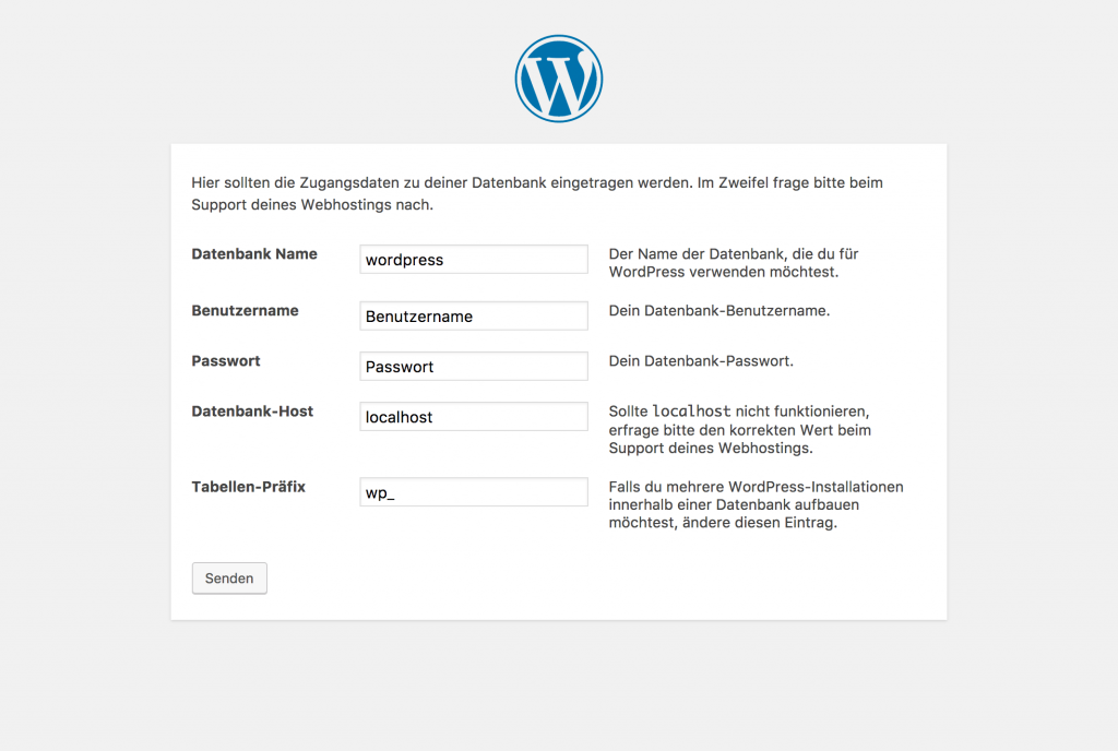 Screenshot bei der Installation von WordPress