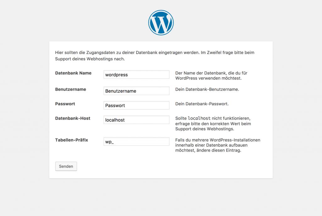 Screenshot bei der Installation von WordPress