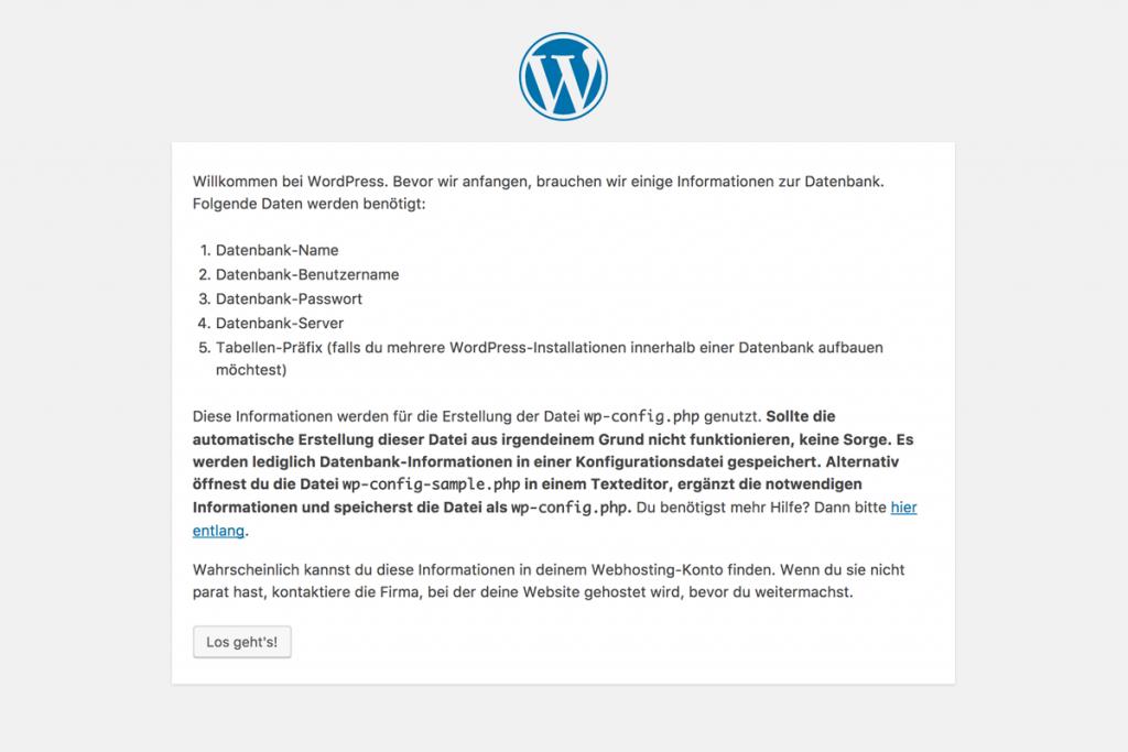 Screenshot der benötigen Daten bei der Installation von WordPress