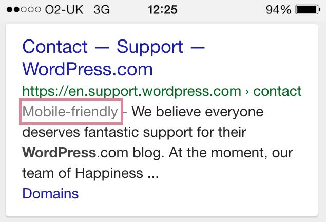 Google kennzeichnet Ergebnisse als mobil optimiert